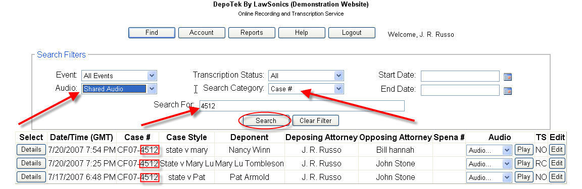 Here are several examples of how to find a deposition you are